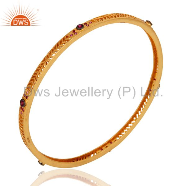 Wholesalers of Handmade fashion created ruby 14k yellow gold plated sleek bangle