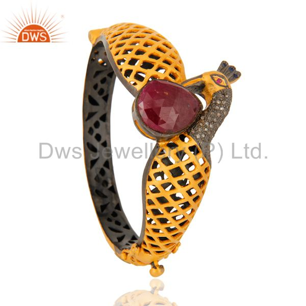 Wholesalers of Ruby pave diamond 18k gold on silver peacock design fashion bangle