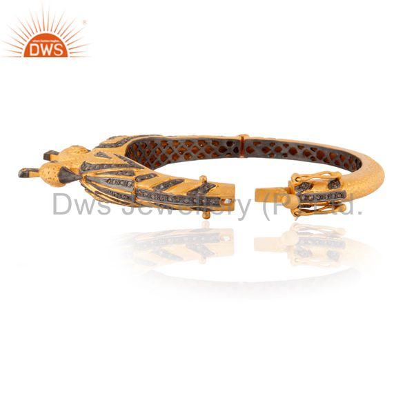 Wholesalers of 2.19ct real diamond pave 18k gold 925 silver peacock design bangle