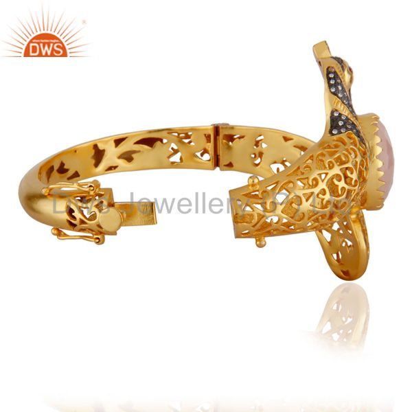 Wholesalers of 18k gold rose chalcedony unique peacock design openable bangle cz