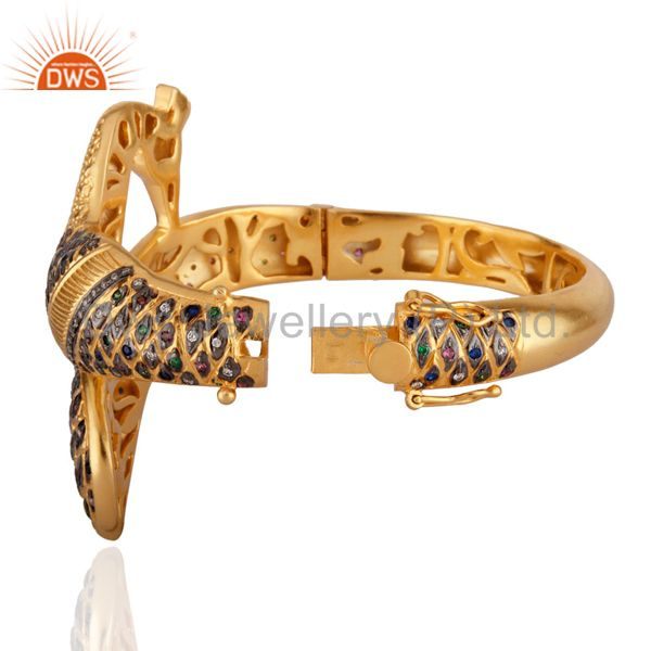 Wholesalers of 14k yellow gold mix cubic zirconia indian fashion peacock bangle