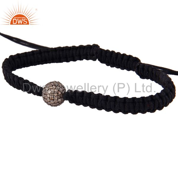 Suppliers 18K Gold Sterling Silver Pave Set Diamond Beads Macrame Fashion Bracelet