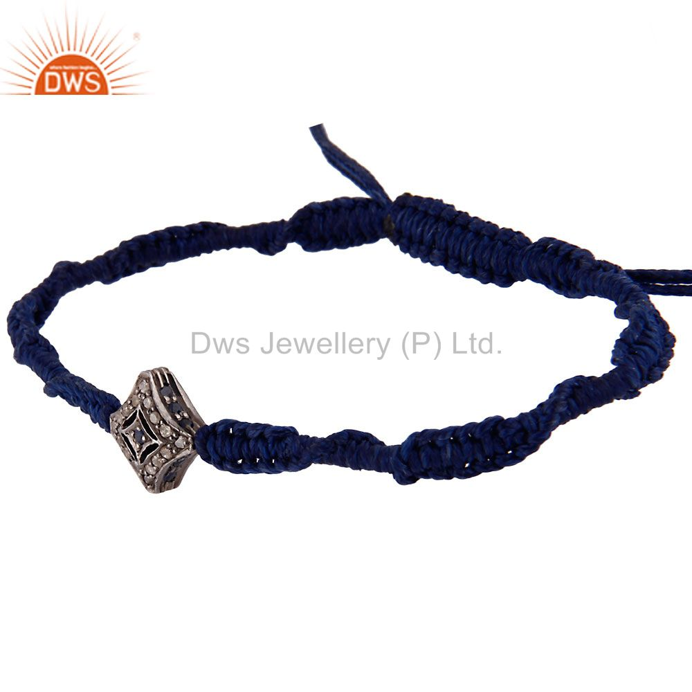 Suppliers Pave Diamond Blue Sapphire Sterling Silver Bead Finding Macrame Bracelet Jewelry