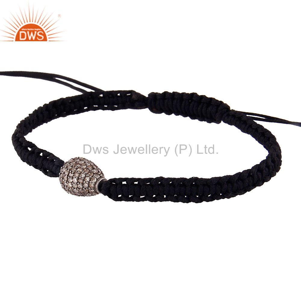 Suppliers 925 Sterling Silver Diamond Pave Beads Fashion Macrame Black Cord Bracelet