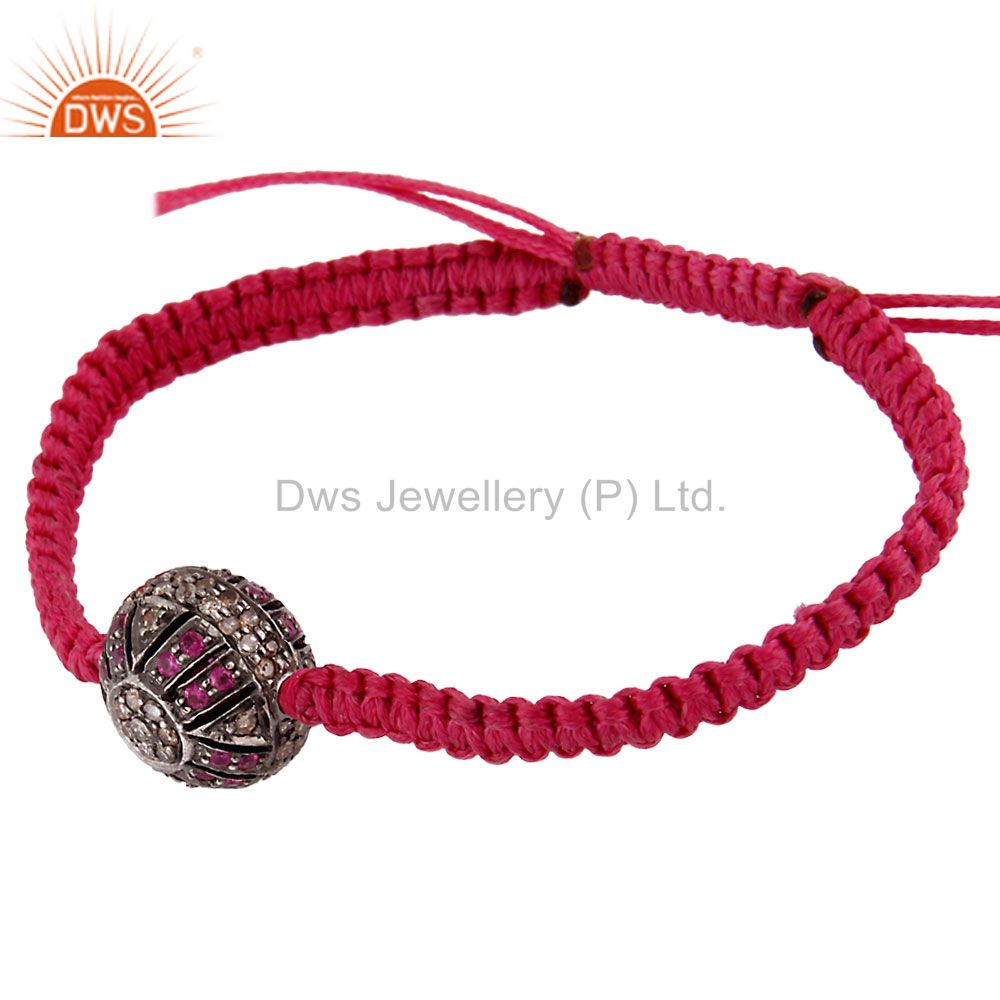 Suppliers Ruby Gemstone Pave Diamond Sterling Silver Bead Finding Macrame Bracelet