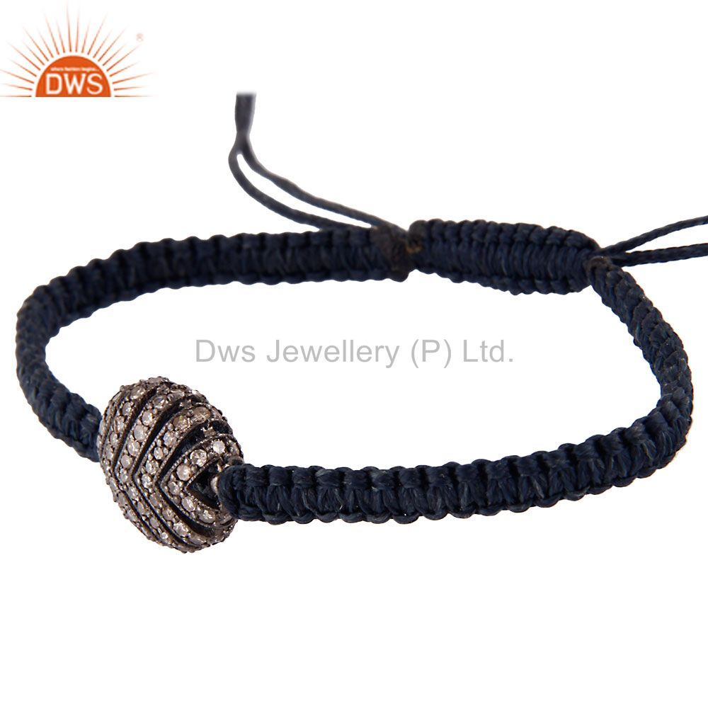 Suppliers Natural Diamond Pave Set Beads Sterling Silver Finding Macrame Bracelet