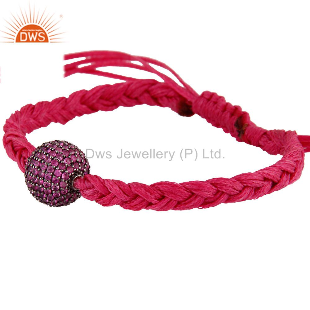 Suppliers 925 Sterling Silver Ruby Gemstone Pave Beads Macrame Bracelet Fashion Jewelry