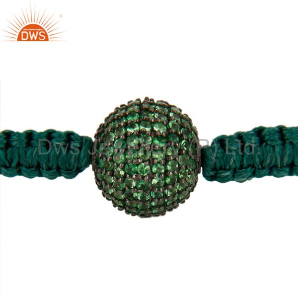 Suppliers 925 Sterling Silver Tsavorite Gemstone Pave Spacer Beads Macrame Bracelets