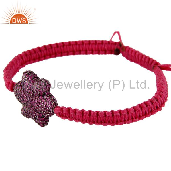 Suppliers Pink Sapphire Pave Bead 925 Sterling Silver Flower Charm Macrame Bracelet