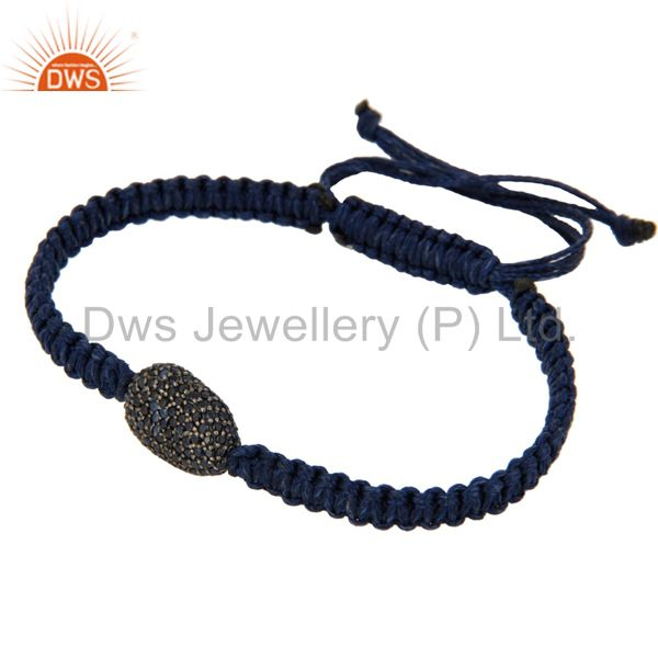 Suppliers 925 Sterling Silver Natural Sapphire Gemstone Pave Bead Macrame Hemp Bracelet