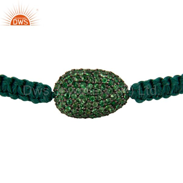 Indian Manufacturer of 925 Sterling Silver Tsavorite Gemstone Bead Designer Macrame Bracelets