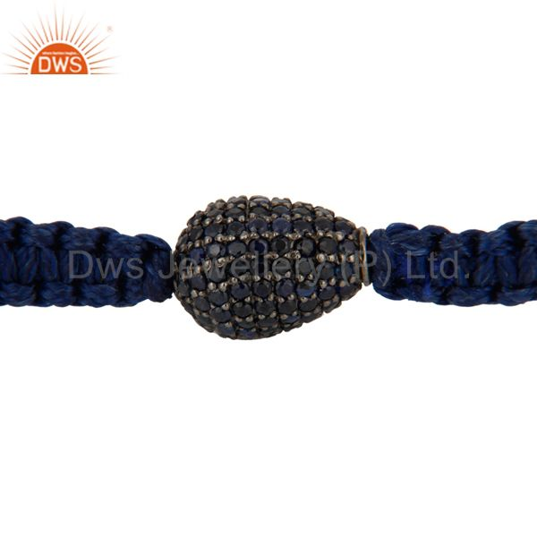 Indian Wholesaler of 925 Sterling Silver Blue Sapphire Gemstone Bead Fashion Shamballa Bracelet