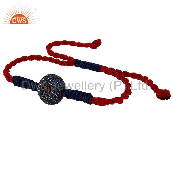 Suppliers 925 Silver Blue Sapphire Ruby Shamballa Stylish Macrame Wrist Bracelet Jewellery