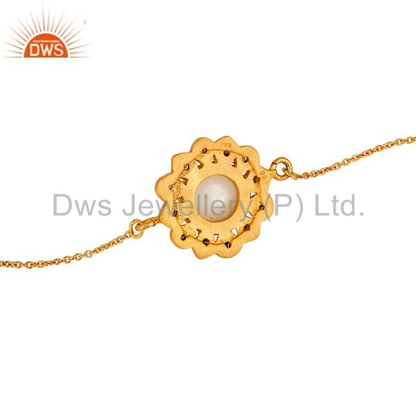 Suppliers Pearl and Diamond 18K Gold Plated 925 Silver Bracelet with Adjustable Chain Link