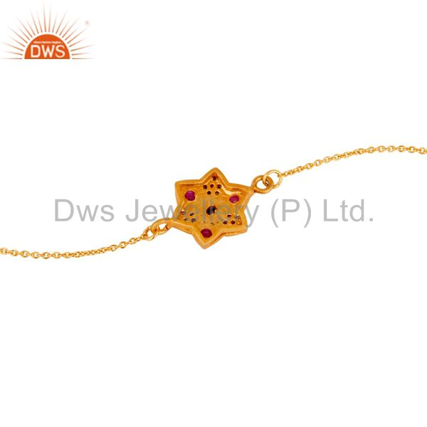 Suppliers Diamond & Ruby With 18k Gold Plated Sterling Silver Bracelet