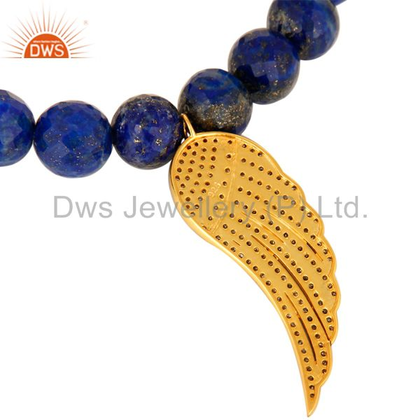 Suppliers Lapis Lazuli Pave Diamond 18K Gold On Sterling Silver Angel Wing Charm Bracelet