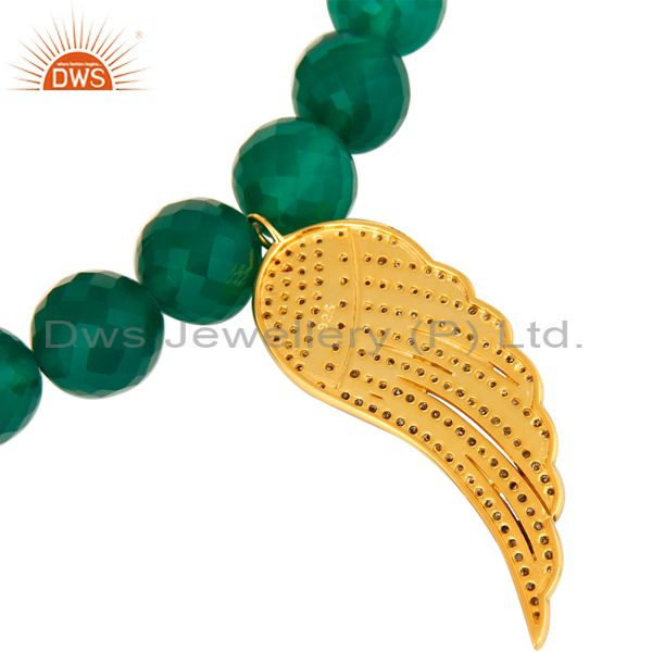 Suppliers Green Onyx Gemstone Beaded Stretch Bracelet With Pave Diamond Wing Charms