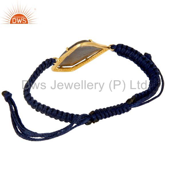 Suppliers 925 Silver Faceted Blue Sapphire Pave Diamond Macrame Adjustable Unisex Bracelet