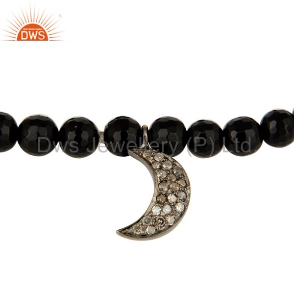 Suppliers 925 Sterling Silver Pave Diamond Crescent Moon Charm Black Onyx Stretch Bracelet