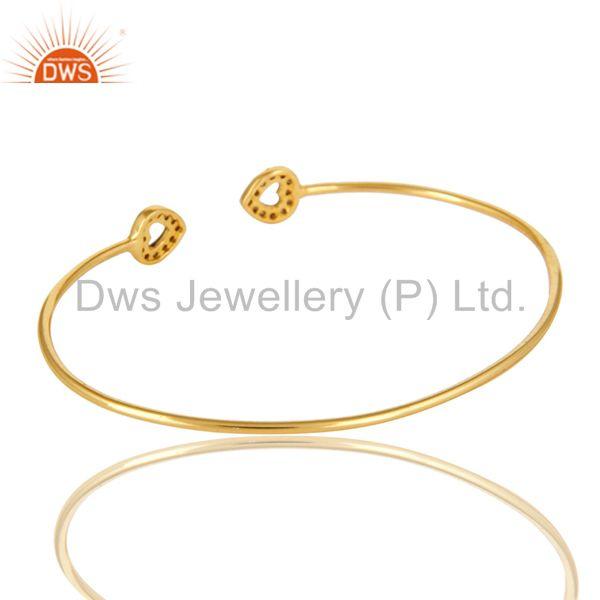 Suppliers Pave Set Diamond Heart Bangle Bracelet Made In 18K Gold Over Sterling Silver