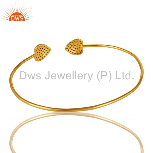 Suppliers 14K Gold Plated Sterling Silver Pave Set Diamond Heart Adjustable Stack Bangle