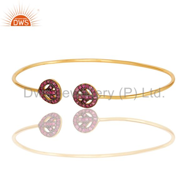 Suppliers 14K Gold Plated Sterling Silver Pink Sapphire Peace Sign Open Bangle Bracelet