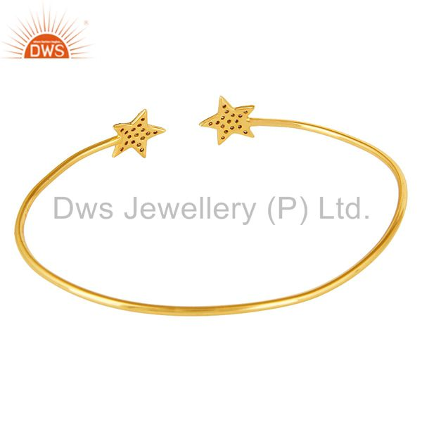 Suppliers Pave Set Diamond Star Adjustable Open Bangle Made In 14K Yellow Gold Over Silver