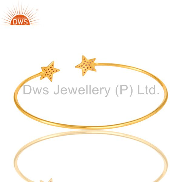 Suppliers 18K Yellow Gold Plated Silver Pink Sapphire Star Stackable Open Bangle