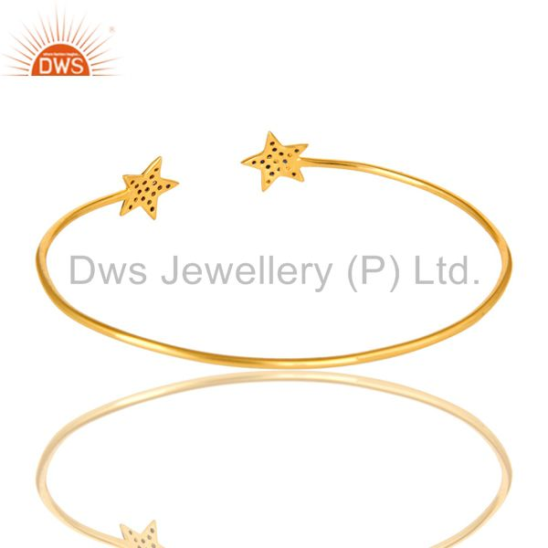 Suppliers 18K Yellow Gold Plated Silver Blue Sapphire Star Stacking Open Bangle