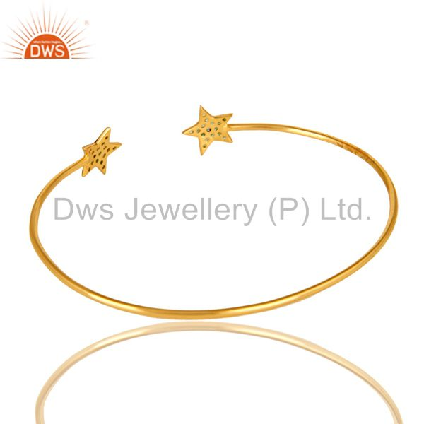 Suppliers 14K Yellow Gold Plated Sterling Silver Tsavorite Gemstone Star Sign Open Bangle