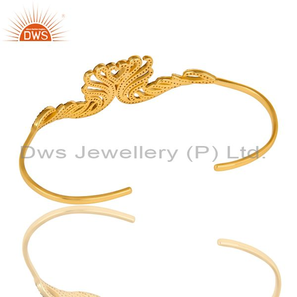 Suppliers 18K Yellow Gold Plated Sterling Silver Blue Sapphire Palm Bracelet Bangles