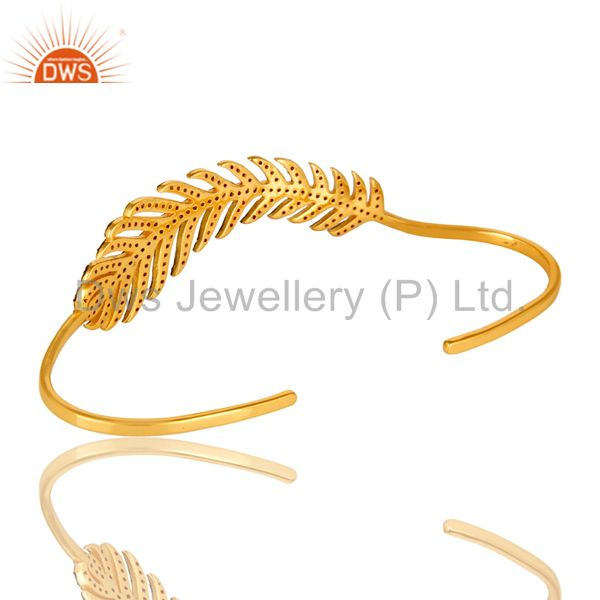 Suppliers Ruby Gemstone Leaf Designer Wedding Palm Bracelet Made In 14K Gold Over Silver