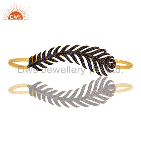 Suppliers Blue Sapphire Leaf Palm Bracelet Made In 18K Gold Over Sterling Silver