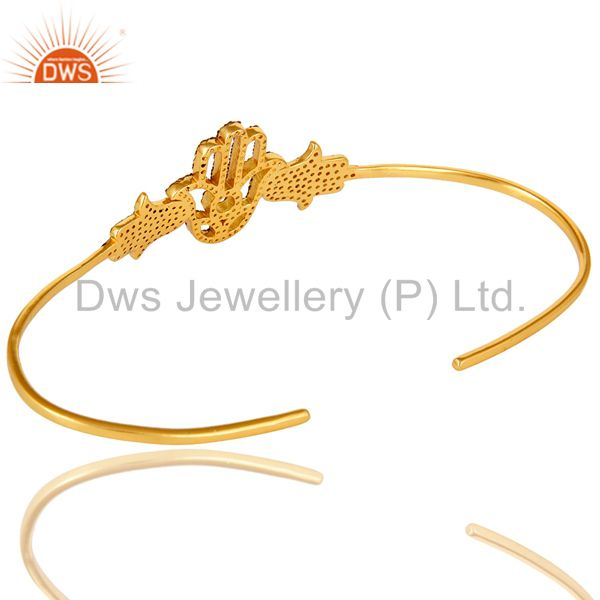 Suppliers 14K Yellow Gold Plated Sterling Silver Citrine Hamsa Hand Palm Bracelet Bangle