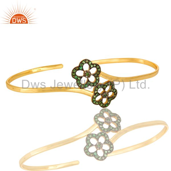 Suppliers Tsavorite Gemstone Flower Palm Bracelet Made In 18K Gold Plated Sterling Silver