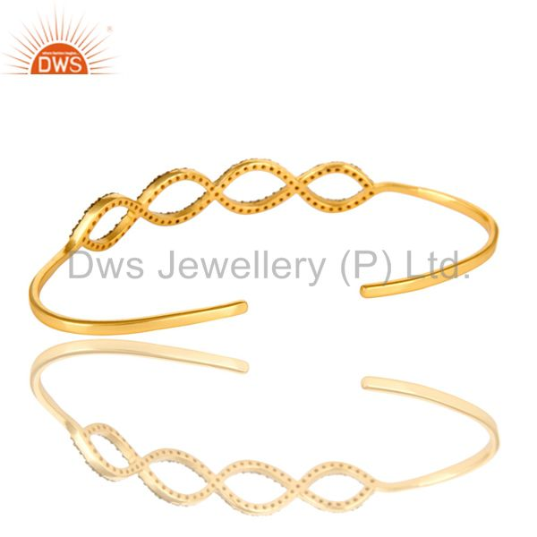 Suppliers Pave Set Diamond Infinity Palm Bracelet Made In 18K Gold Over Sterling Silver
