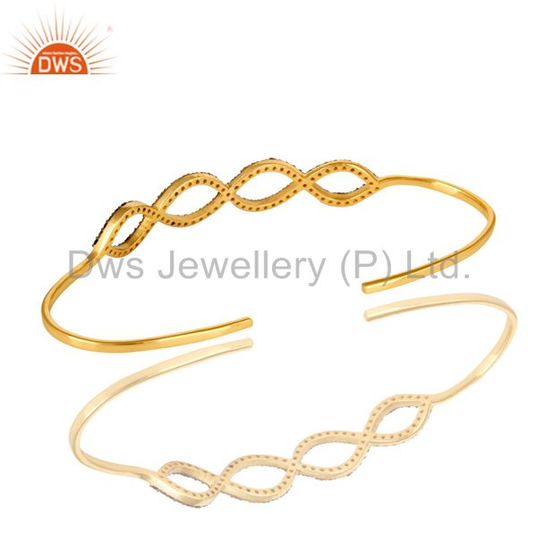 Suppliers 18K Gold Over Sterling Silver Smoky Quartz Accent Infinity Bangle Bracelet