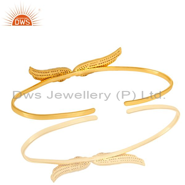 Suppliers Pave Set Diamond Angel Wing Cuff Bangle Bracelet Made In 18K Gold Over Silver