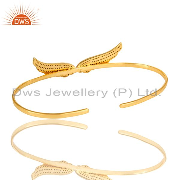 Suppliers London Blue Topaz Gemstone Angel Wing Palm Bracelet Bangle In 18K Gold On Silver