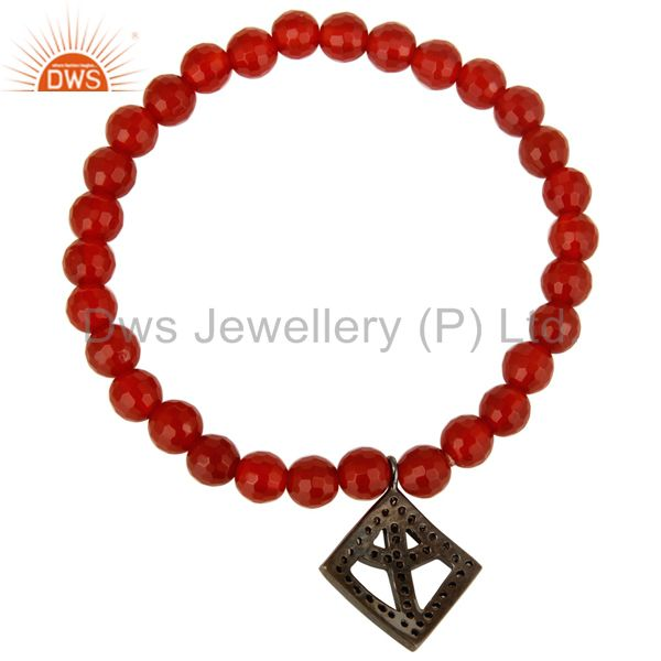 Suppliers Faceted Carnelian Beads Stretch Bracelet With Silver Pave Diamond Peace Charms