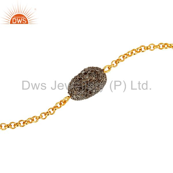 Suppliers 925 Sterling Silver with 18k Gold Plated Pave Set Diamond Open Bracelet