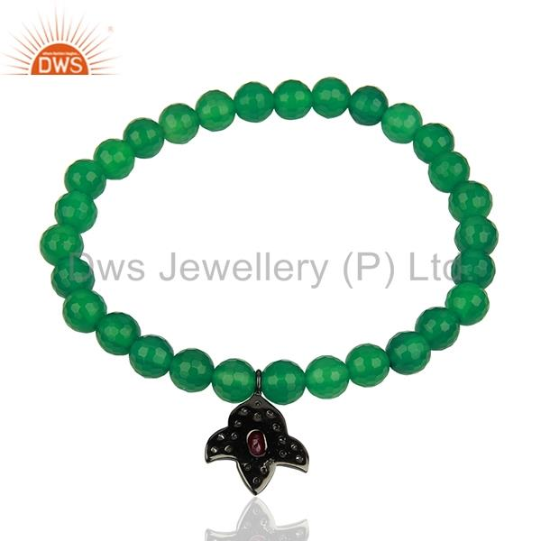 Suppliers Pave Diamond Green Onyx Gemstone Beads Strechable Bracelet Supplier