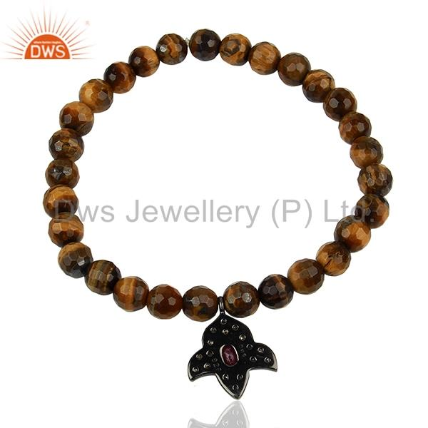 Suppliers Wholesale Pave Diamond Tiger Eye Gemstone Beads Bracelet Manufacturer