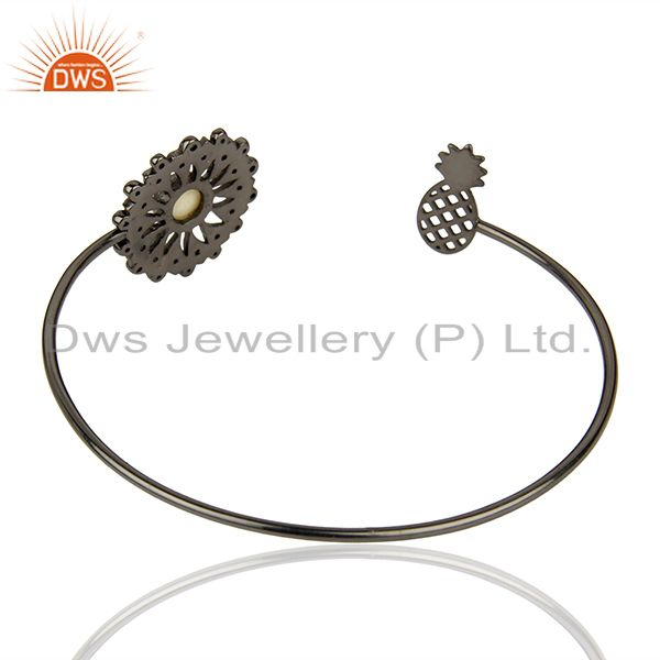 Suppliers Natural Pearl Gemstone Pave Diamond 925 Silver Cuff Bangle Supplier