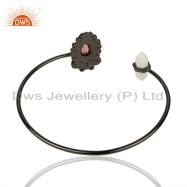 Suppliers Howlite Gemstone Pave Diamond 925 Silver Cuff Bangle Jewelry Supplier