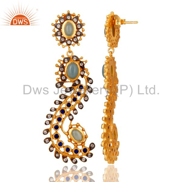 Suppliers Blue Chalcedony and Zircon Sterling Silver Gold Plated Dangler Earring Stud