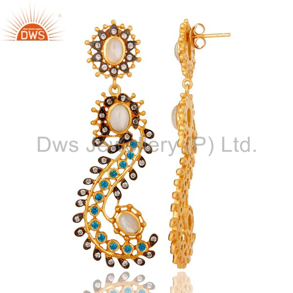 Suppliers Rainbow Moonstone and Zircon Sterling Silver Gold Plated Dangler Earring Stud