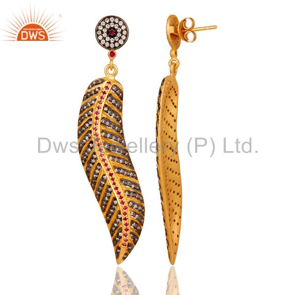 Suppliers 18K Yellow Gold Sterling Silver Color Zircon Leaf Dangle Earrings