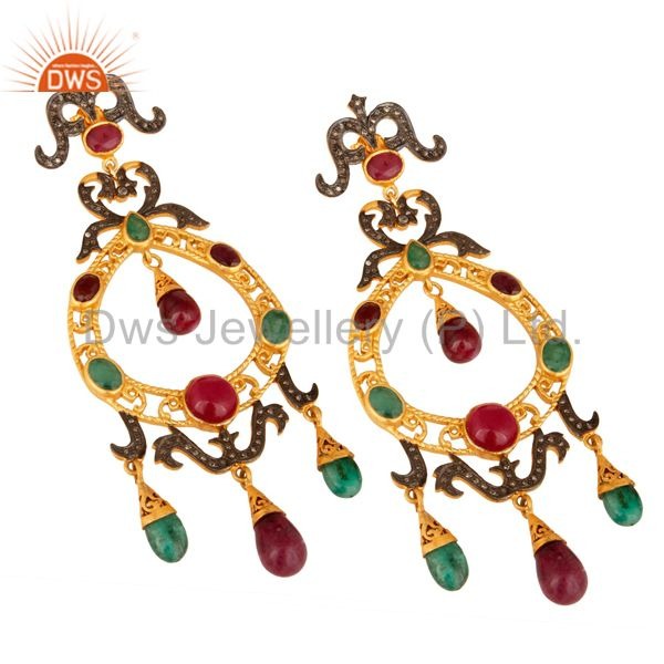Suppliers Natural Ruby And Emerald Pave Diamond Designer Victorian Silver Earrings