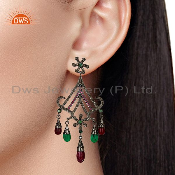 Suppliers Black Rhodium Plated Pave Diamond Ruby Gemstone Earrings Supplier